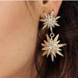 BAUBLEBAR Crystal Pave Starburst Drop Earrings New